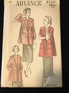 Vintage Late 1940's Smock Pattern Advance 4137 32-34 Bust Used Complete
