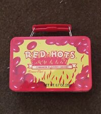 RED HOTS Cinnamon Flavored Candies Tin Box Mini Case Vintage