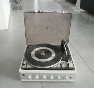 vintage DUAL HS37 Plattenspieler Chasis 1214 Turntable Amplifier weiß von 1971