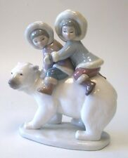 Mint Lladro Eskimo Riders 01005353 Spanish Glazed Porcelain Polarbear