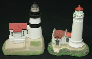 """PAIR of PNW Lighthouse Co, North Head & Cape Disappointment 4"""" Lighthouses"""