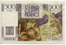BILLET BANQUE 500 Frs CHATEAUBRIAND 19-07-1945 K Y.10 SUP