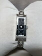 Authentic Womens Gucci G-Link Watch GG Logo Dial Steel Bracelet Swiss Made New