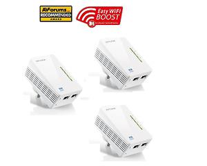 TP-LINK  300Mbps AV600 WiFi Powerline Range Extender Gaming Plug TL-WPA4220 X 3