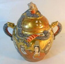 Antique SIGNED Japan SATSUMA Jar Lidded Urn  Sugar BOWL  Dragon Relief Moriage