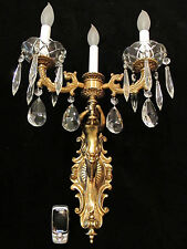 wall light sconce bronze and crystal mermaid sculptures handcrafted in America