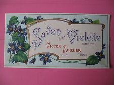 1 ANCIENNE ETIQUETTE DE SAVON A LA VIOLETTE/ANTIQUE SOAP LABEL FRENCH PARIS