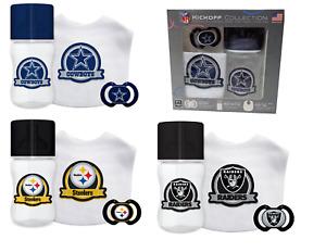 NFL Banner Kickoff Collection 3 Piece Infant Gift Set Bib Pacifier Bottle