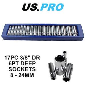 US PRO 17pc 3/8 Dr Metric Deep Socket Set 6 point 8 - 24mm 3258