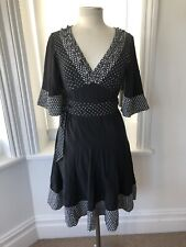 KAREN MILLEN Black/White Polka Dot Kimono Sleeve Fit Flare Dress UK 10