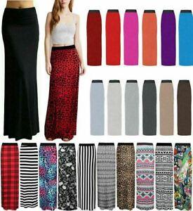 Womens Gypsy Long Maxi Skirt Ladies Full Length Elasticated Waist Skirt 8-26