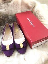 SALVATORE FERRAGAMO Varina Purple Suede Ballerina Flats 8.5 B