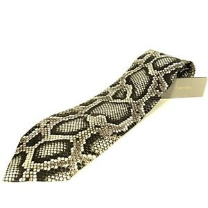 TOM FORD Mens Python Snake Print Woven Silk Neck Tie Light Gray (MSRP $250)