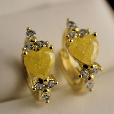 Yellow Gold Filled Heart Yellow Quartz Clear CZ Crystal Huggie Hoop Earrings 134