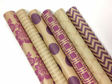 "Kraft Pink and Cream Wrapping Paper - 6 Rolls - 6 Patterns - 30"" x 120"" per Roll"