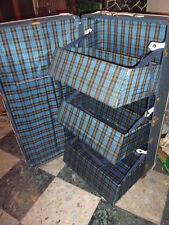 Antico baule con cassetti armadio da viaggio vintage pelle fantasia scozzese