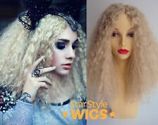 DELUXE WOMENS LONG BLONDE KINKY CURLY AFRO WIG FASHION COSPLAY COSTUME