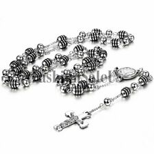Silver Stainless Steel Cross Jesus Christ Pendant Necklace Men's Link Bead Chain