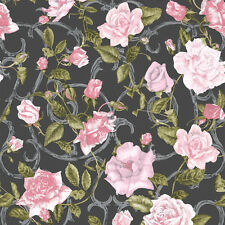 BLACK PINK ROSE TRELLIS ROSES FLOWERS QUALITY FEATURE WALLPAPER 135501 MURIVA