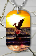 """FLYING PELICAN OVER SEA AT SUNSET DOG TAG NECKLACE 30"""" FREE CHAIN -ofb6Z"""