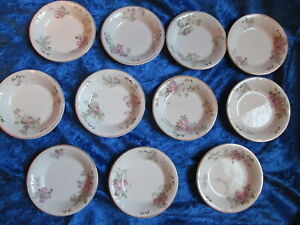 11 Antique Ridgway's Butter Pat Dish Pink Gasciogne England Royal Semi Porcelain