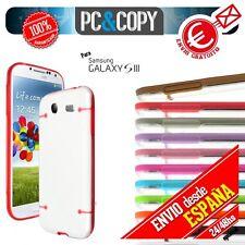 Funda hibrida TPU transparente con marco de colores para Galaxy S3 GT-i9300 SIII