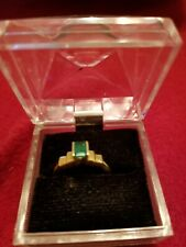 Genuine Emerald Ring - Emerald Cut - 14 Kt Yellow Gold  1993, worn twice, 6 1/2