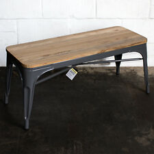 Graphite Grey Metal Industrial Bench Seat Solid Wood Kitchen Living Coffee Table