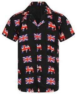 LOUD MENS ALOHA HAWAIIAN SHIRT UNION JACK STAG BRITAIN ENGLAND BBQ BEER BREXIT