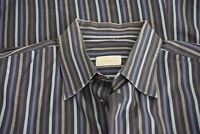 Brioni Blue Gray Striped Cotton Long Sleeved Button Up Shirt Sz XL
