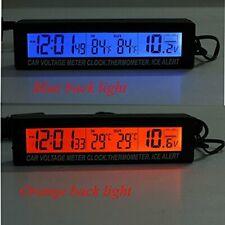 12V/24V Car Voltage Meter LCD Digital Clock Time Temp ~Blue & Orange Back Light