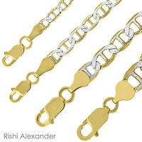 REAL SOLID 10K GOLD Mens Pave Two-Tone Mariner Link Chain Necklaces or Bracelets