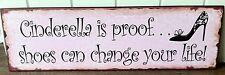 """VINTAGE Rosa Metallo Muro segno """"Cenerentola è la prova Scarpe può cambiare la tua vita!"""
