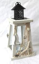 Laterne für ein Teelicht 26cm Holz, Glas, maritim dekoriert  2. Wahl