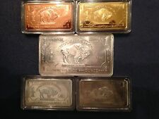 Mixed Lot Bullion 5x1 oz Bar/INGOT/ART BUFFALO COPPER IRON Zinc Aluminum Brass