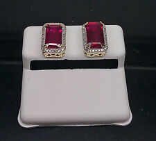 10K Yellow Gold 4.92CT Princess Cut/Emerald Cut Red Ruby 0.20CT adjusted price