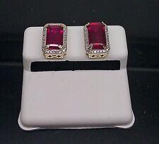 10K Yellow Gold 4.92CT Princess Cut/Emerald Cut Red Ruby  0.20CT Diamond Earring