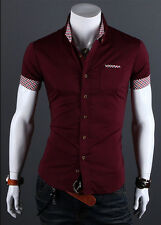 Fashion Men Formal Business Dress Shirt Casual Short Sleeve Slim Fit Top T-Shirt