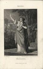 Stampa antica SCHILLER Cassandra mitologia 1860 Old antique print Alte stich