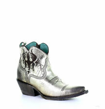 G1476 CORRAL SILVER LASER ENGRAVED LEATHER ANKLE BOOTS