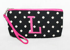 CLEVER CARRIAGE COMPANY Black White Knit Canvas & Pink Leather Zip Wristlet