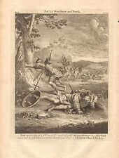 1770  ANTIQUE PRINT -BIBLE- SAUL TOOK A SWORD AND FELL UPON IT
