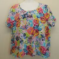 Ulla Popken 28 30 Shirt Top Blouse Bright Floral Pink Blue Green Yellow White