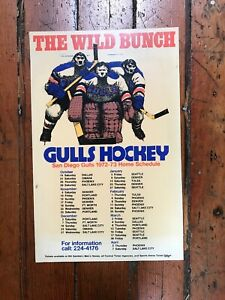 1972-73 WHL San Diego Gulls Poster Schedule (The Wild Bunch)