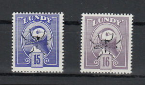 Lundy 1982 Puffin 15 & 16puffin with Malaria Mosquito overprint Un/mint NHM