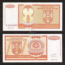CROATIA 500 Million Dinara Prefix Z Replacement 1993 P-R16 UNC Uncirculated