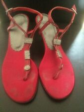 Blay Sandals Red Silver Ankle Strap Stiletto Toe Post Shoes Size 3 <T2371
