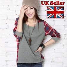 Women Ladies Plaid Checked Casual Loose T Shirt Top Blouse XS, M
