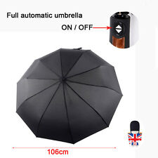 Automatic Open & Close Windproof Umbrella Men Women Black Brolly 10 strong ribs