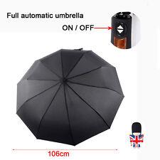 Automatico Aperto & Aderente Anti Vento Ombrello Uomo Donna Nero Ombrello 10
